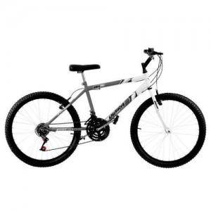 Bicicleta 18 Marchas Aro 26 Cinza Fosco E Branco Ultra Bikes